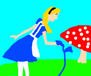 Alice (Wonderland)Touches A Blue Plant