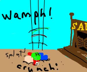 failed parachuter lands outside saloon