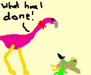 flamingo bandit stabs acid-spewing bird