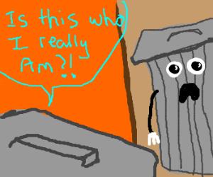 a cofused trashpan wondering what it is.