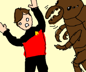 red shirt attacked by monsterous beetle