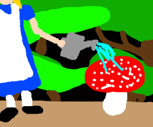 Alice is watering a wonderland toadstool