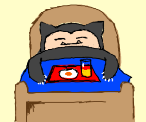 Snorlax gets breakfast in bed.