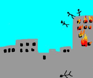 Suicide off burning skyscraper.