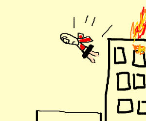 A man without pants jumps for safety.