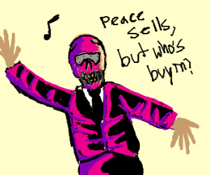Purple skeleton sings in skeleton public