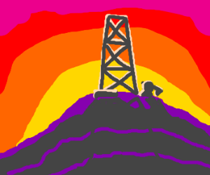 Awesome silhouette of oil well