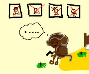 Hitman Monkey Finds No Joy In His Job Drawception