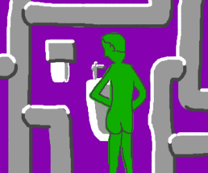 labyrinth with green arces, pipe, urinal