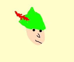 robin hood has a red fern for a head