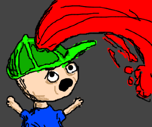 blood shooting out of green hat