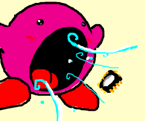 Kirby going to eat a microchip
