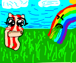 Mr. Bacon is amazed of rainbow puke