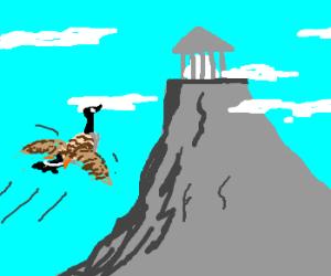 Canadian goose flies to mount Olympus