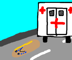 sad hotdog gets out of an ambulance