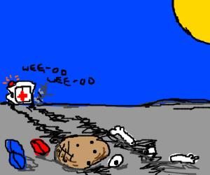 mrs. potato run over by ambulance