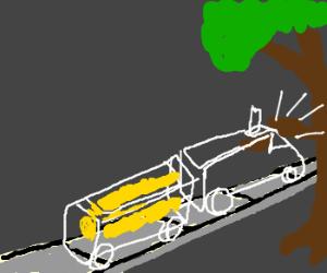 ghost train w/mustard rams a tree branch