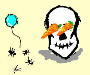 Ants party at the carroteyed skull