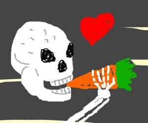 Skull loves eating carrots