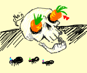 Carrot in love with a skull