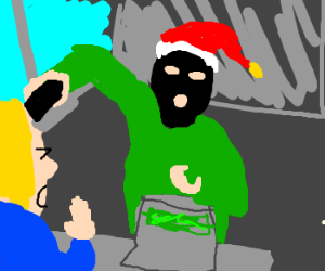 Robber with a santa hat on