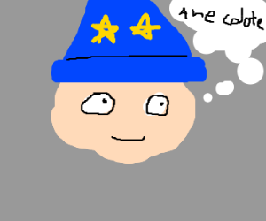 Young wizard thinks of amusing anecdotes