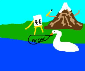 swan amazed by fancy artistic mountain