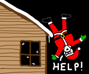 Santa Falling Off Roof Asking For Help Drawing By Jbear
