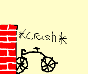 the bike crashed into the brick wall