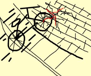 bicycle smashes wall, cracks countertop
