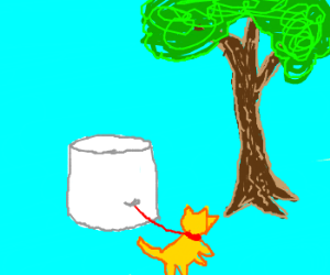 Marshmallow shows a tree to its dog