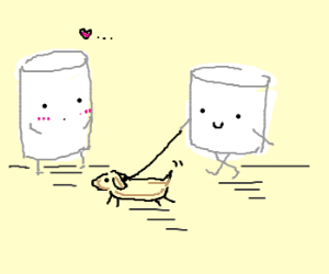 marshmallow walking dog