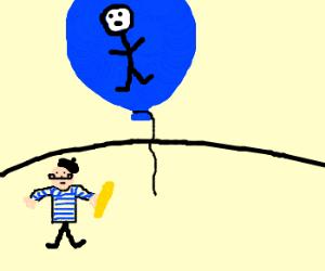 Nadar in a balloon over France