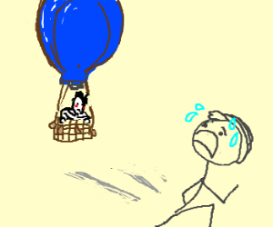 Frenchman chases man in blue balloon