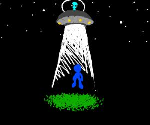 alien abducting a blue person