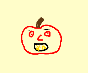Apple with bad teeth