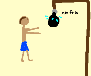 Punching bag crying