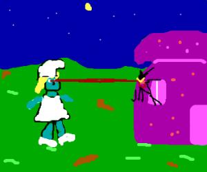 Smurfette develops laser eyes, attacks.