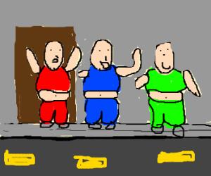3 fat men do YMCA outside a bar