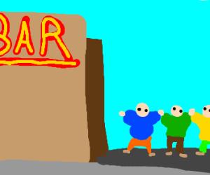 Three kids in big jacket sneaks into bar