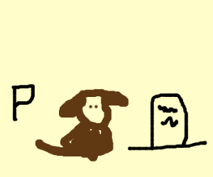 a dog between a P and a tombstone