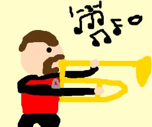 Riker plays the trombone