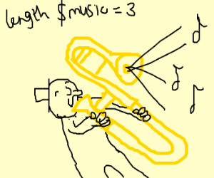 trombone man plays music at length = 3