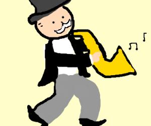 Monopoly man plays saxophone