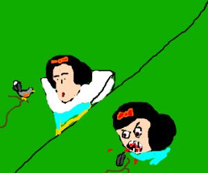 Snow White admires bird before devouring
