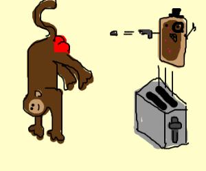 Dapper Pop-Tart shoots monkey in rear.