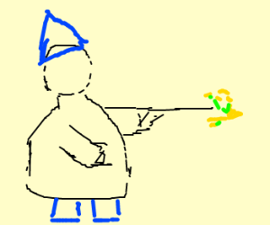 Faceless wizard casts spell with wand