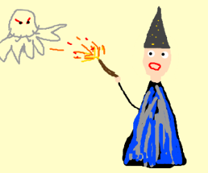 a Jellyfish attacking on a wizard