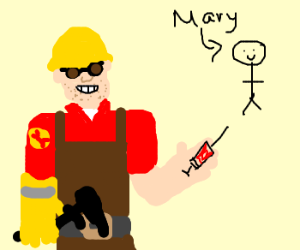Engineer gives Mary a bloodspenser.