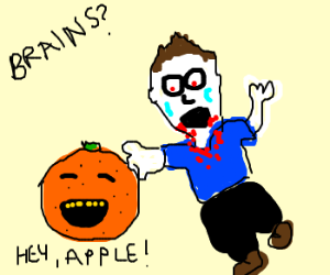 zombie attacking a orange